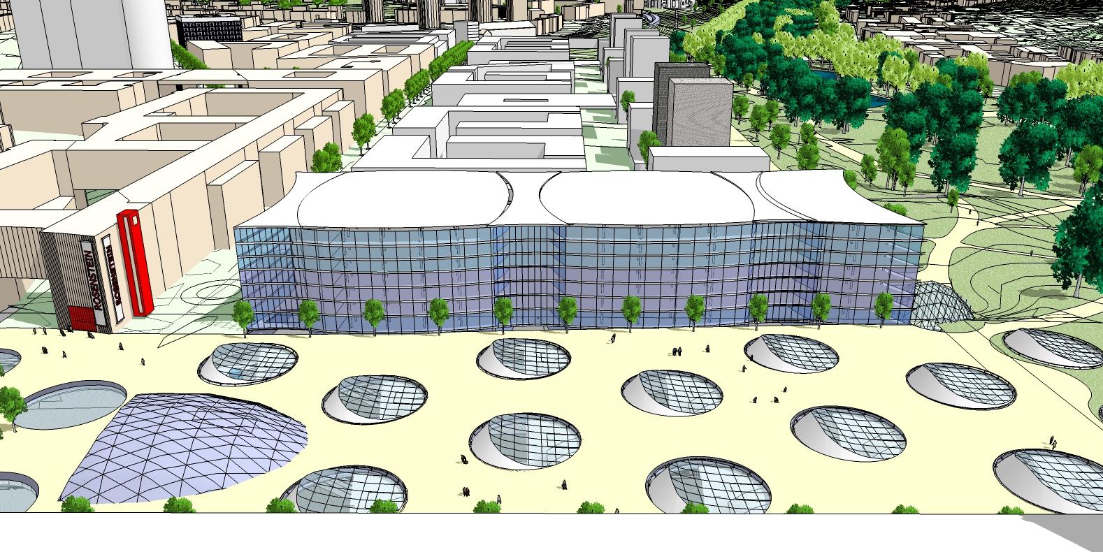 Entwurf für ein Nordgebäude am Stuttgarter Bahnhof von Christoph Ingenhoven