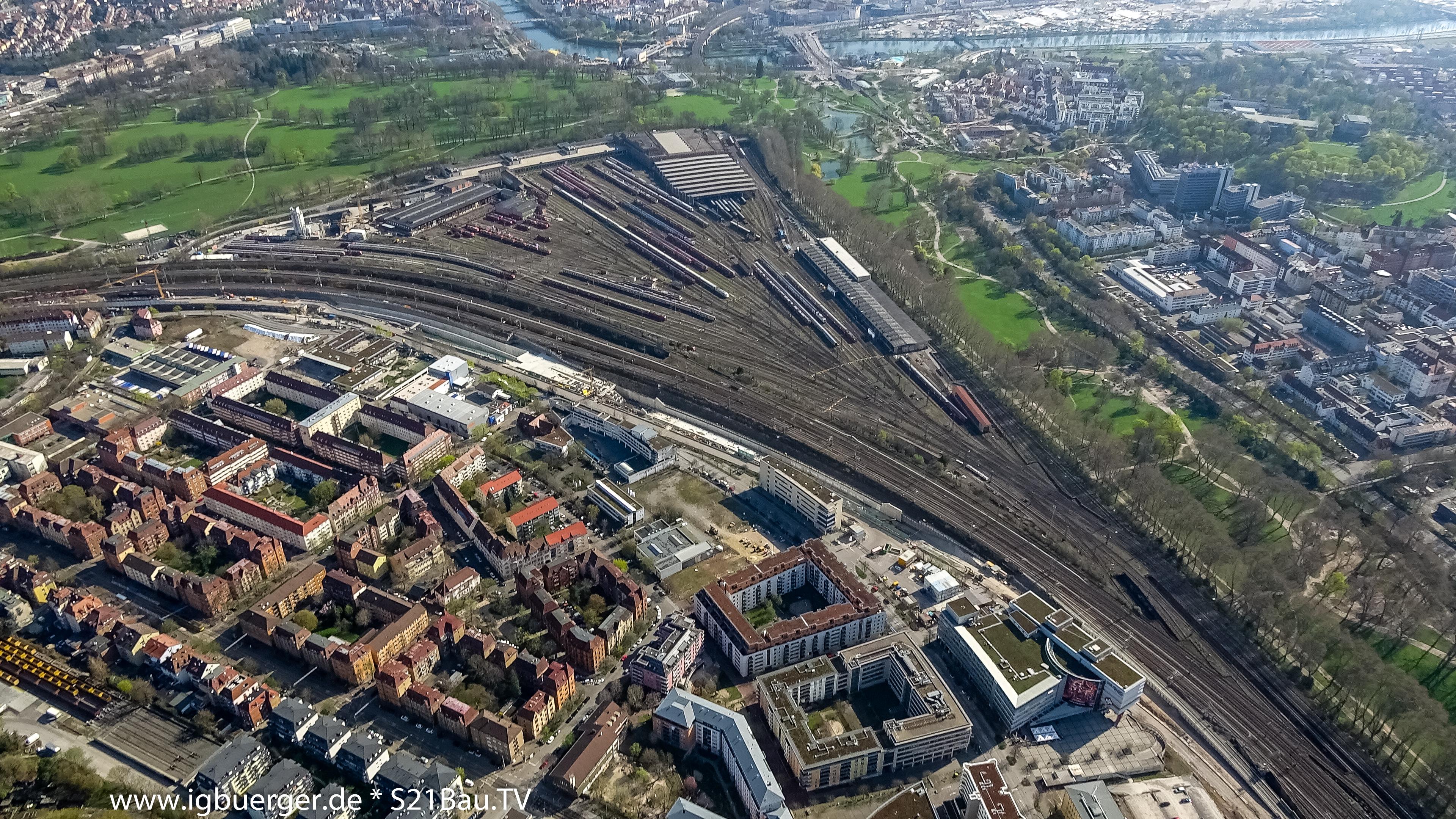 Luftbild der durch Stuttgart 21 frei werdenden Flächen, auf denen das neue Rosensteinviertel entseht